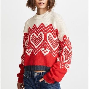 Free People I Heart You Sweater Fair Isle $128 NWT
